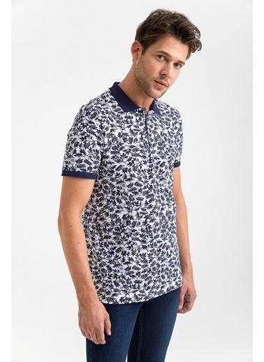 Avva Erkek  Polo Yakalı Baskılı Tişört A01Y1118 Lacivert